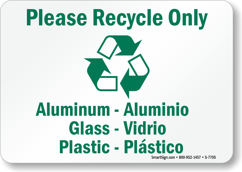 please recycle only bilingual sign - recycling sign, sku: s-7705