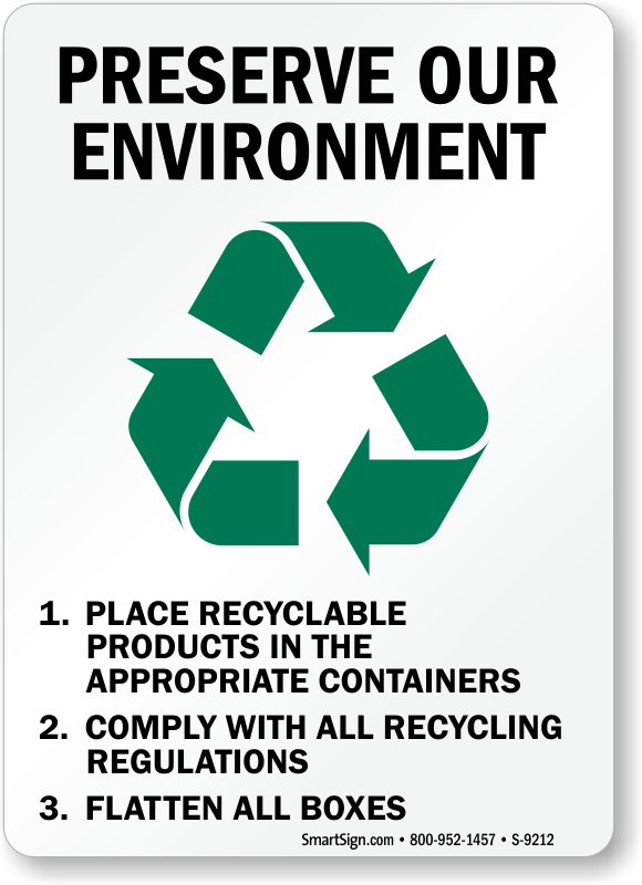 Preserve Environment Sign Flatten All Boxes Recycle Sign