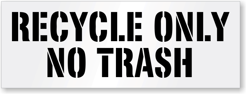 photograph about Trash Sign Printable referred to as Recycling Stencil