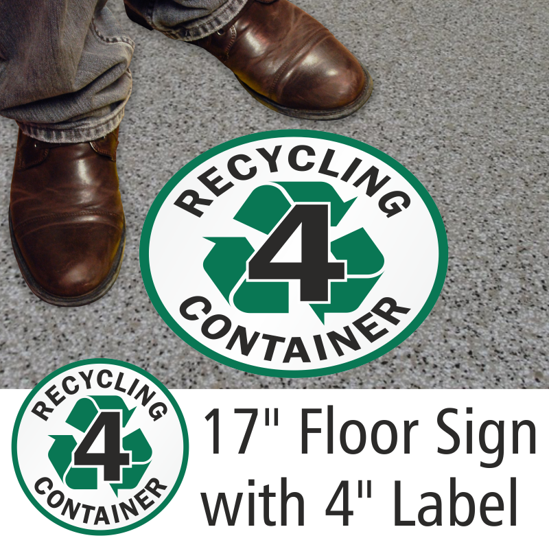 Recycling container 3 sign recycling floor sign for Floor labels