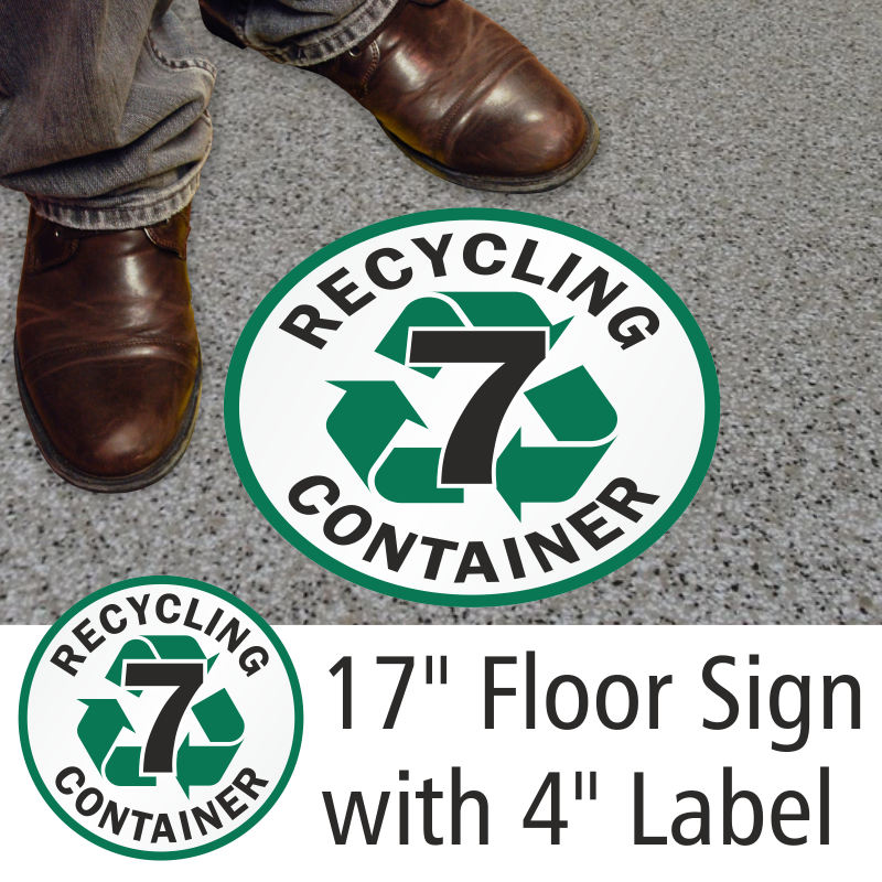 Recycling container 6 sign recycling floor sign for Floor labels