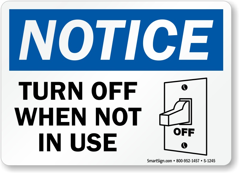 Do You Turn Salt Lamps Off : Conserve Energy Signs and Stickers