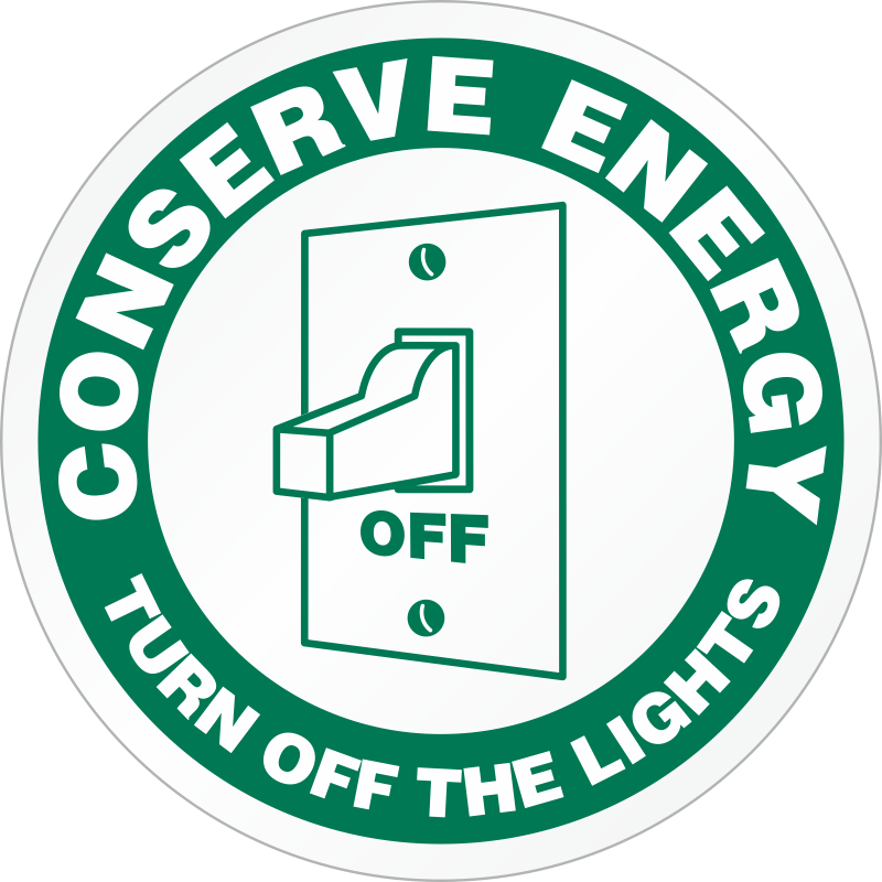 Conserve Energy Signs and Stickers