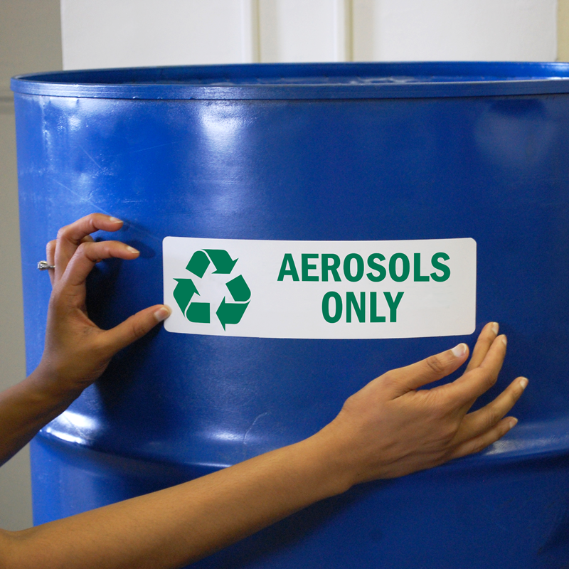 Aerosols Only Label Recycle Labels Sku Lb 1829