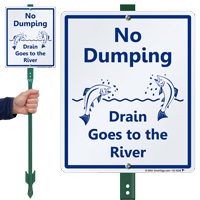 Drain Goes To The River LawnBoss Sign