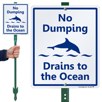 Drains To The Ocean LawnBoss Sign