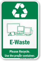 E-Waste Please Recycle Sign