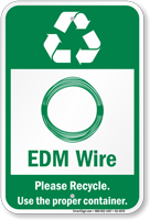 EDM Wire Please Recycle Sign