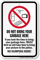 No Dumping Here Recycling Sign