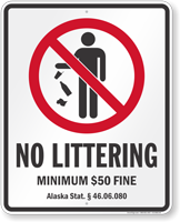 No Littering Alaska Law Sign