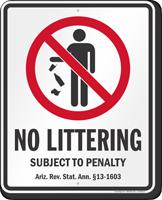 No Littering Arizona Law Sign