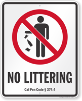 No Littering California Penal Code Sign