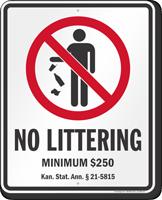 No Littering Kansas Law Sign