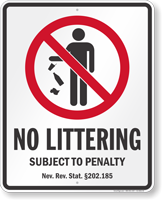 No Littering Nevada Law Sign