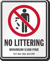 No Littering North Carolina Law Sign