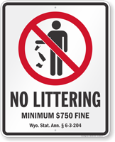 No Littering Wyoming Law Sign