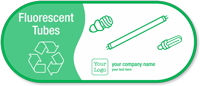 Customizable Fluorescent Tubes Vinyl Recycling Sticker with Symbol