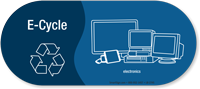 E-Cycle, Electronics Vinyl Recycling Sticker with Recycle Symbol