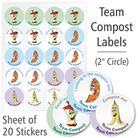 Team Compost Labels Sheet, Set Of 20 Stickers