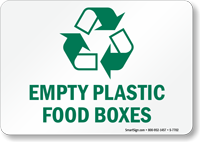 Empty Plastic Food Boxes Sign