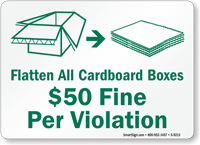 Flatten All Cardboard Boxes Sign