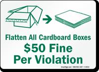 Flatten All Cardboard Boxes Sign