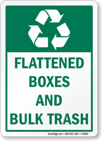 Flattened Boxes And Bulk Trash Recycling Sign