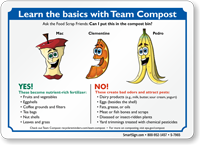 Team Compost Sign, Food Scrap In Compost Bin
