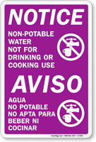 Bilingual Notice Non-Potable Water Sign