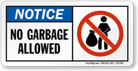 Notice No Garbage Allowed Recycling Sign