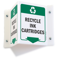 Recycle Ink Cartridges Projecting Recycling Sign