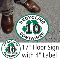 Recycling Container 10 Floor Sign & Label Kit