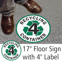 Recycling Container 4 Floor Sign & Label Kit