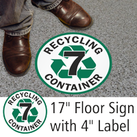 Recycling Container 7 Floor Sign & Label Kit