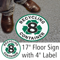 Recycling Container 8 Floor Sign & Label Kit