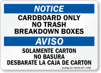 Bilingual Cardboard Only No Trash Notice Aviso Sign