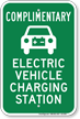 Complimentary Electric Vehicle Charging Station Sign