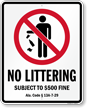 No Littering Alabama Law Sign