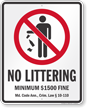 No Littering Maryland Law Sign