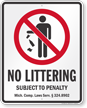 No Littering Michigan Law Sign