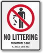 No Littering New Jersey Law Sign