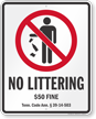 No Littering Tennessee Law Sign