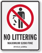 No Littering Vermont Law Sign