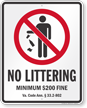 No Littering Virginia Law Sign