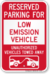 Reserved Parking For Low Emission Vehicle Sign