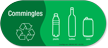 Commingles, Plastic, Bottles, Cans Vinyl Recycling Sticker