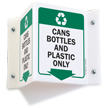 Cans Bottles Projecting Recycling Sign