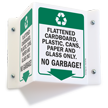 No Garbage Projecting Recycling Sign
