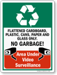 No Garbage Video Surveillance Recycling Sign