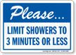 Limit Showers To 3 Minutes Or Less Sign